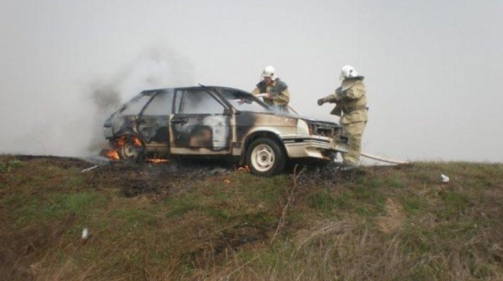 В Ахтубинске сгорел автомобиль